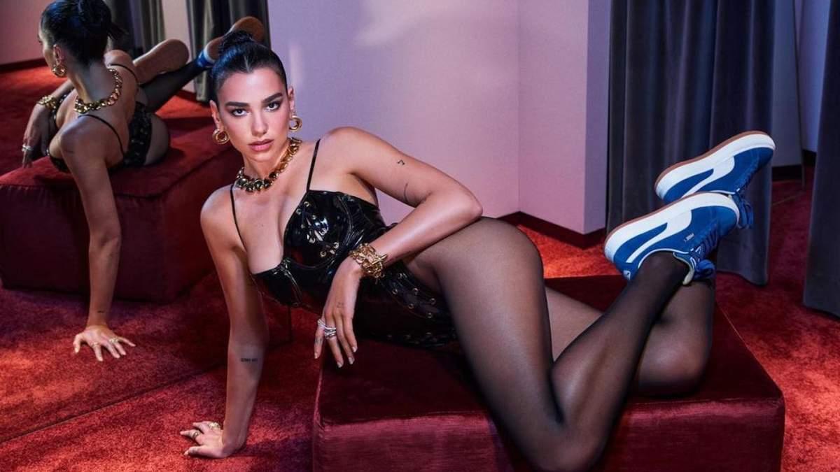 Зухвала Дуа Ліпа випнула груди у лакованому корсеті: сексуальне фото