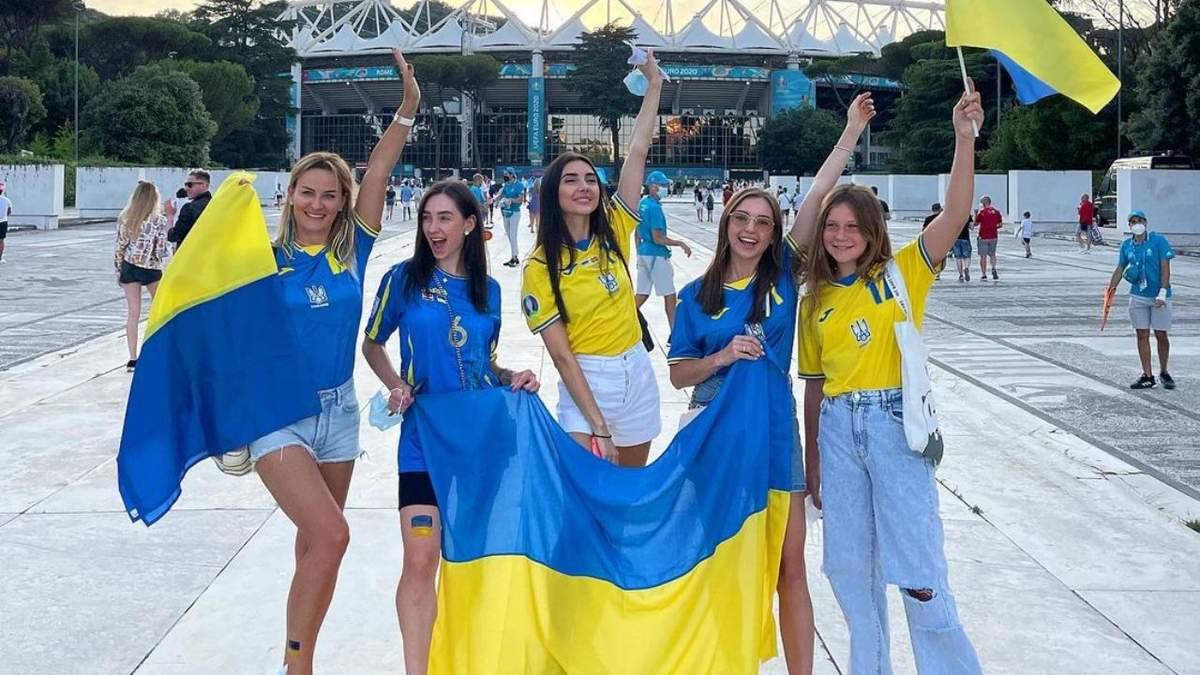 Дружини футболістів на матчі Україна - Англія в Римі