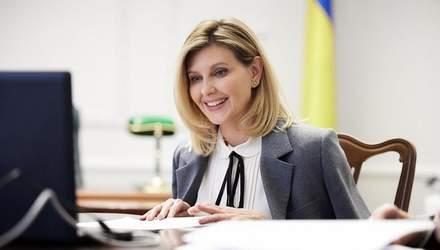 Олена Зеленська вразила стриманим образом у блузці та жакеті