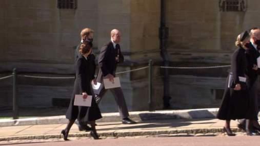 Герцоги Кембриджські та принц Гаррі разом покинули каплицю після похорону принца Філіпа: фото