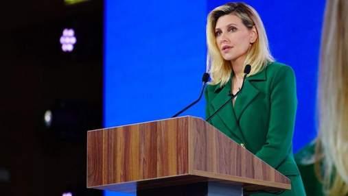 Олена Зеленська приголомшила образом в костюмі кольору смарагду: фото