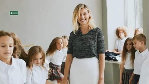 В юбке длины миди и с детьми: появились новые фото Елены Зеленской для Elle