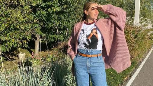 Катя Осадчая позировала в стильном осеннем образе: фото в кардигане и джинсах