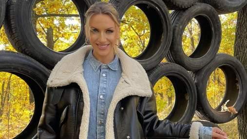 Леся Нікітюк показала стильний осінній образ: фото в шкіряній куртці